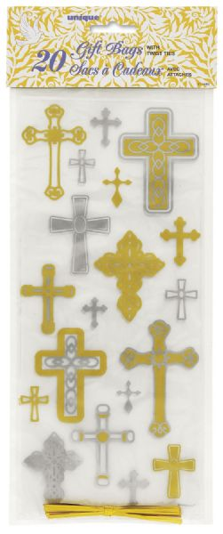 Silver & Gold Radiant Cross Mini Cross Cellophane Bags (20)
